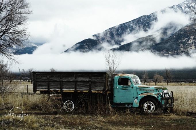 Blue cloud truck